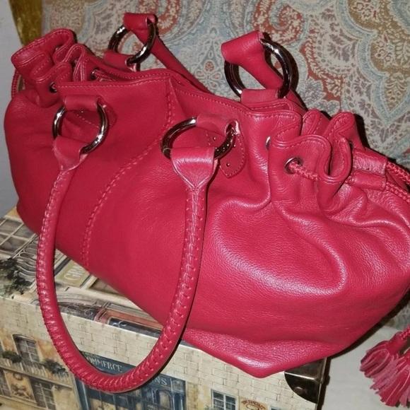The Sak Handbags - The SAK Red Leather Bucket Hobo Handbag